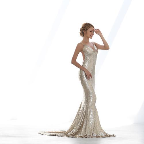 総スパンコールロングドレス