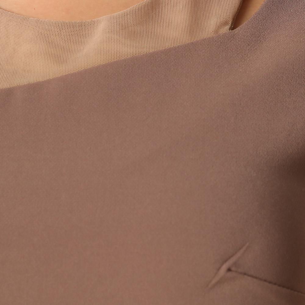 シースルーワンショルダーシンプルタイトミディドレス