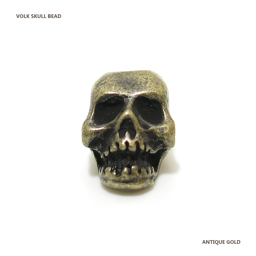 VOLK SKULL BEAD / ANTIQUE GOLD
