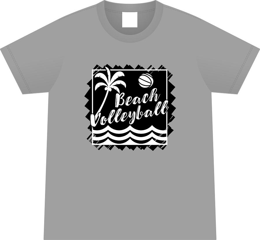 ビーチバレーボール Tシャツ (グレー/綿)