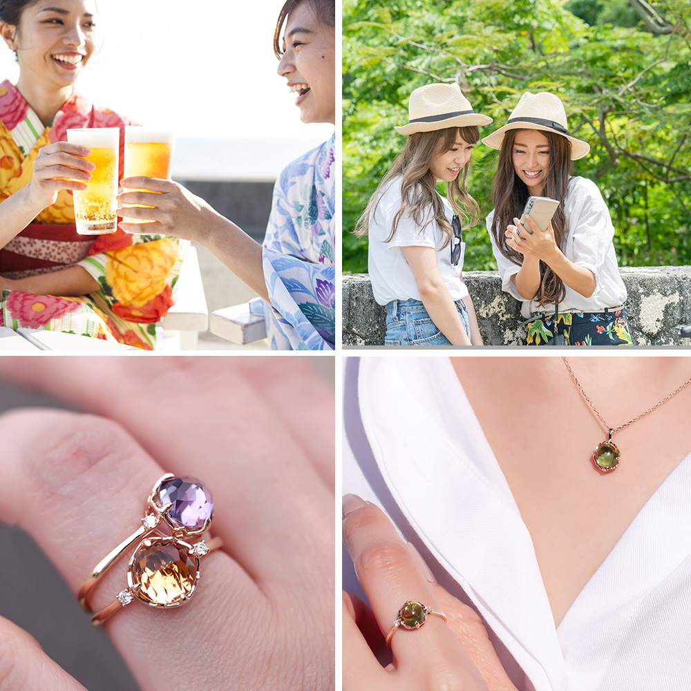 MINAMO Flower&Cabo ダイヤモンドネックレス(トップのみ)