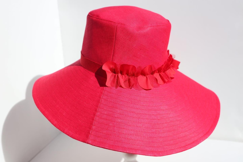 つば広帽子-Capeline Red