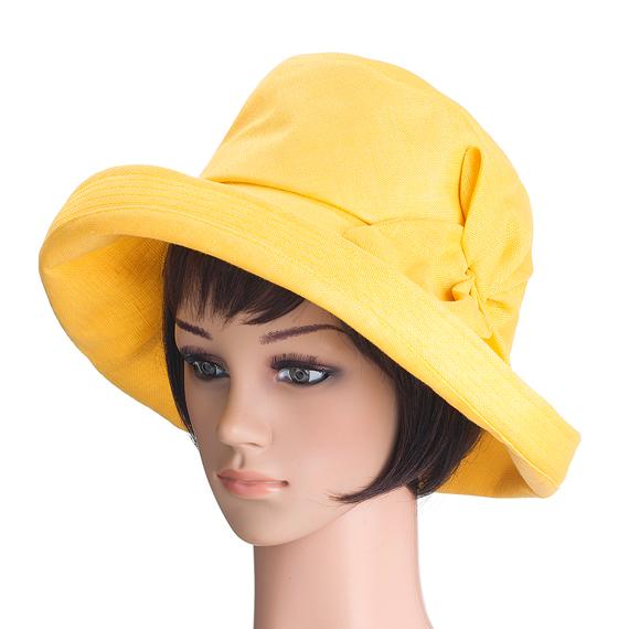 つば広帽子 - Elegant Yellow