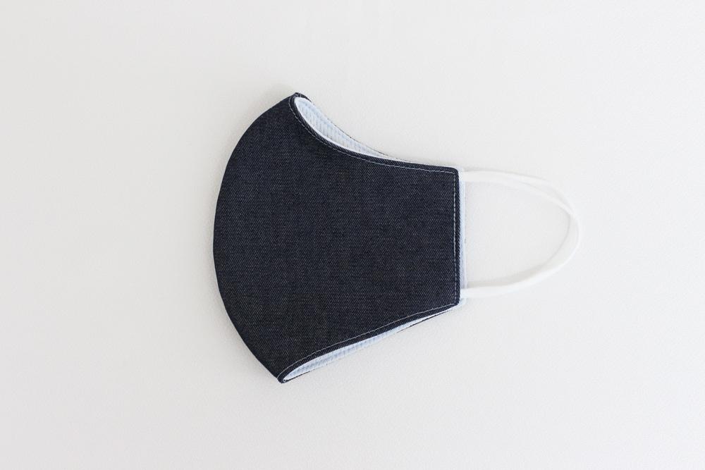 抗菌素材Etak(イータック)使用 デニム調立体型マスク 大人用 - ネイビー