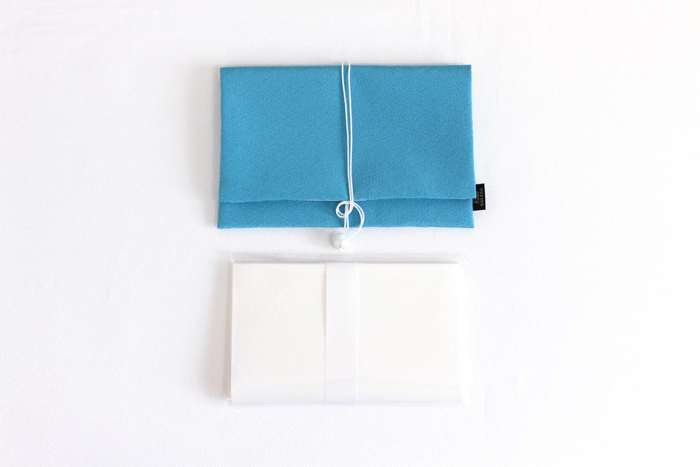 【オリジナル懐紙付き】手元を美しく見せる長浜の絹の懐紙入れ びわこブルー(紺碧)