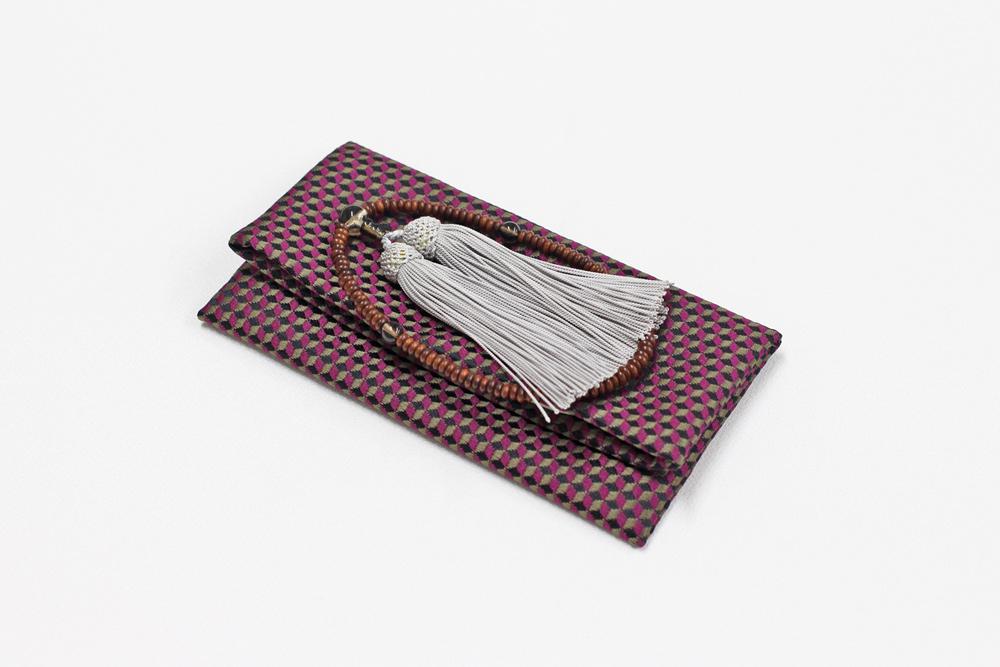 ふじやま織メンズ念珠袋(キューブ/赤紫)