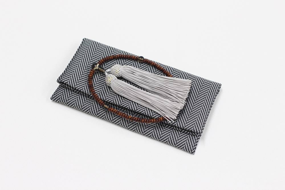 ふじやま織メンズ念珠袋(杉綾/グレー)