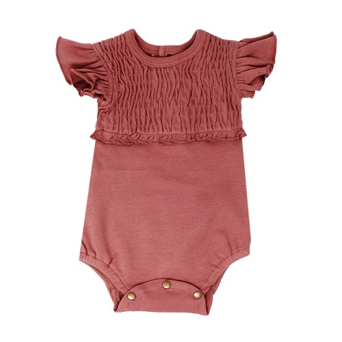 Smocked S/Sleeve Bodysuits【全3色】