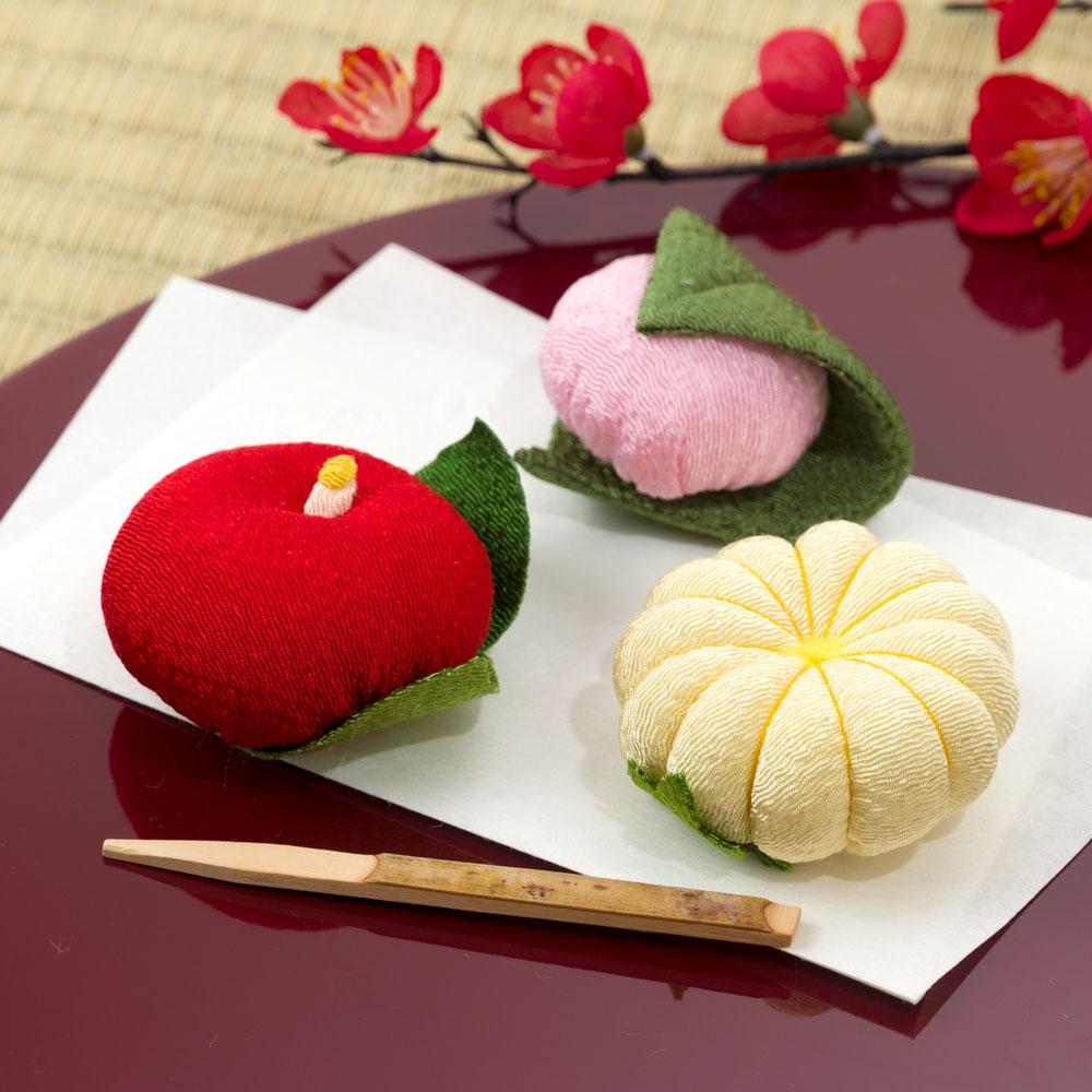 ちりめん和菓子処・香の花 甘美 花うつし (KKN-7) まるで和菓子のようなちりめん置物 お香入り 京都夢み屋 Japanese sweet-like ornament