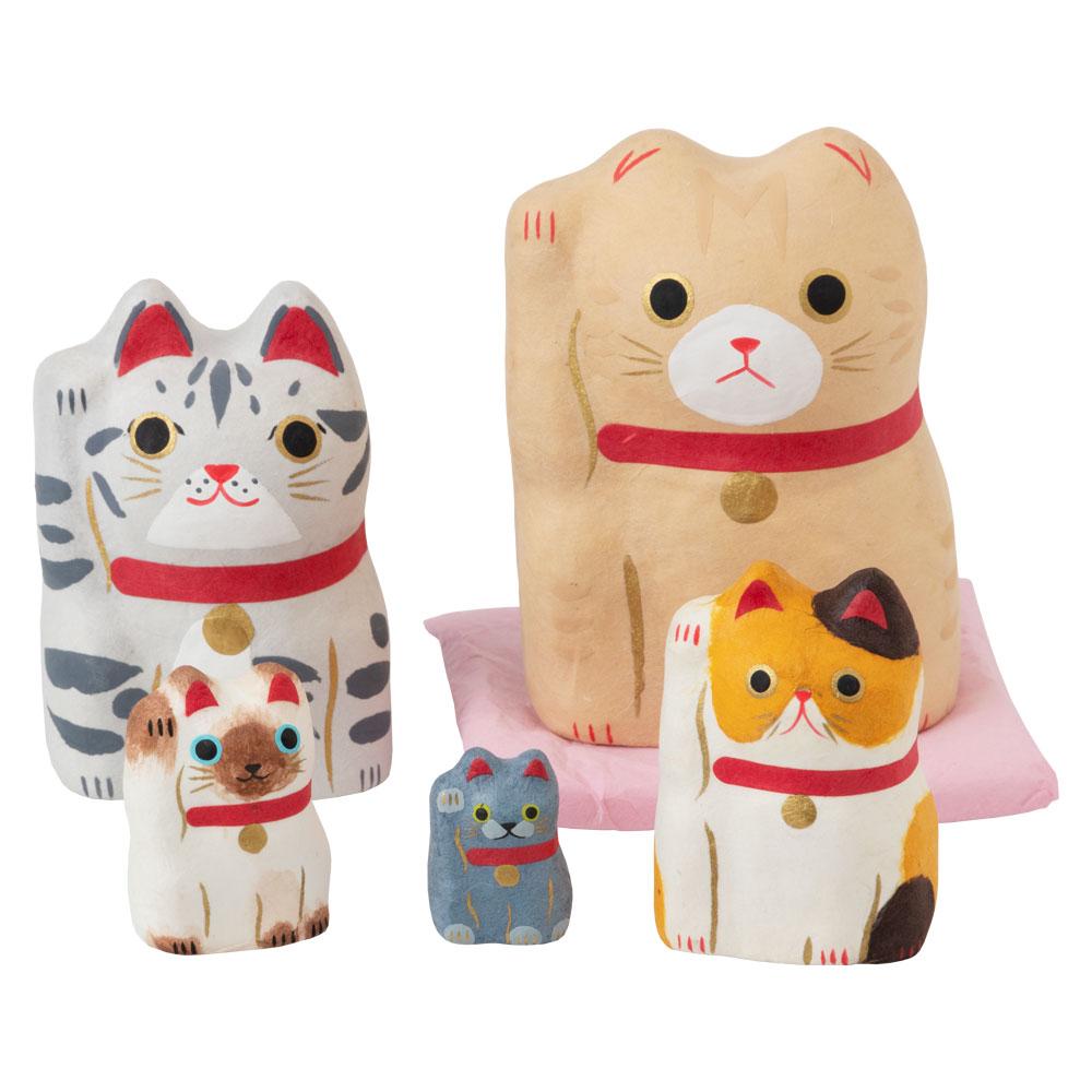和紙置物 はりこーシカ招き猫(洋) 5匹 Lucky cat made of Japanese paper