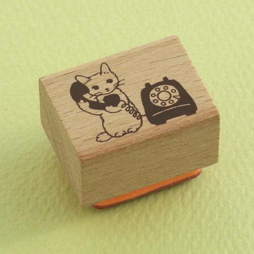 ポタリングキャット 猫はんこ 小サイズ 電話(SH-17)