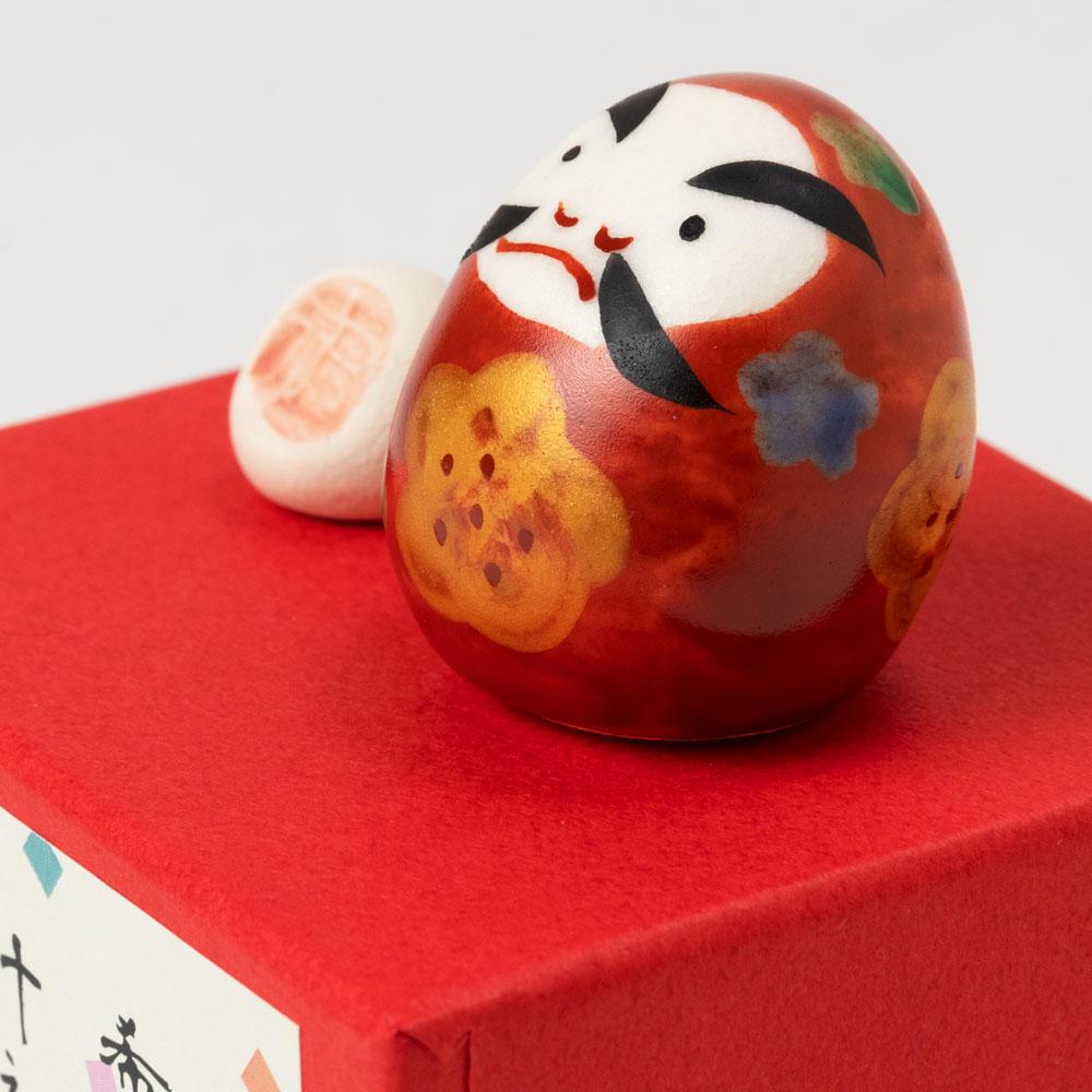 福箱・達磨飾り (K4787) 満願成就 希望叶えのお手伝い 瀬戸焼の開運置物 愛知県の工芸品 Good luck figurine, Seto-yaki