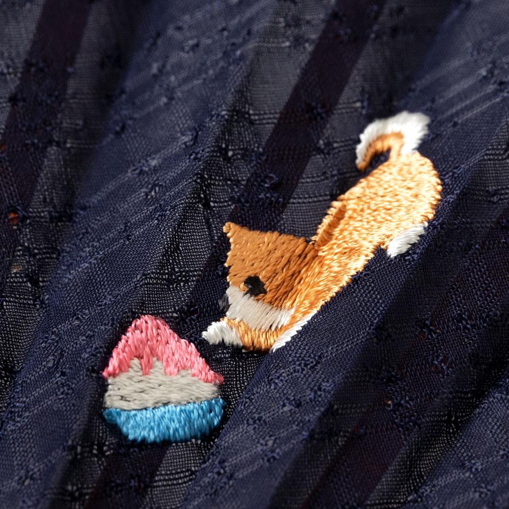 動物刺繍扇子2020 いぬ 刺繍入り布貼り扇子 女性向け スーベニール Sensu fan