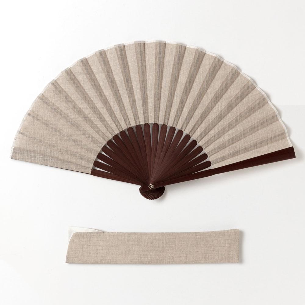和調紳士扇子セット2020 白茶 布貼り扇子 扇子袋付き 男性向け スーベニール Sensu fan