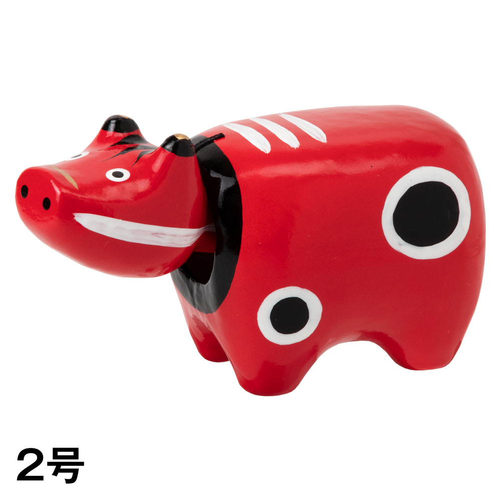 干支張子(丑)赤べこ 2号 首振り張子 Lucky charm, Japanese zodiac Ox