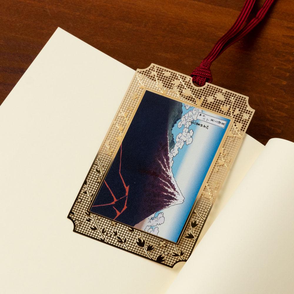 浮世絵しおり 北斎・山下白雨 (UK003) 金の栞シリーズ 24K表面加工 金属製ブックマーカー Metal bookmark, Ukiyo-e