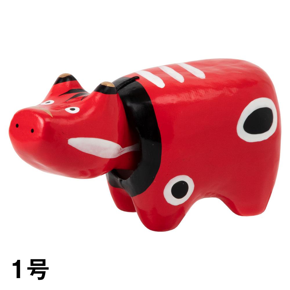 干支張子(丑)赤べこ 1号 首振り張子 Lucky charm, Japanese zodiac Ox