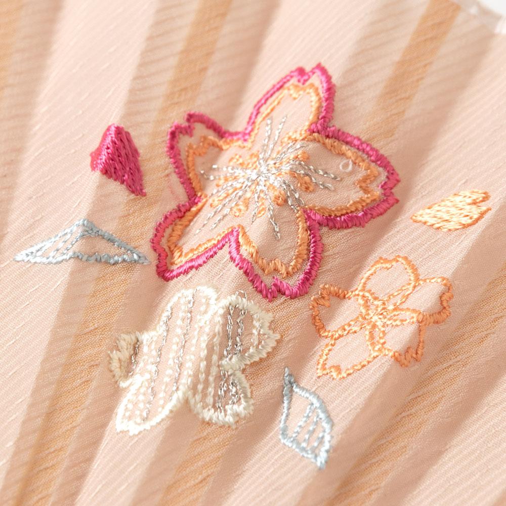 花刺繍扇子セット2020 桜 刺繍入り布貼り扇子 扇子袋付き 女性向け スーベニール Sensu fan
