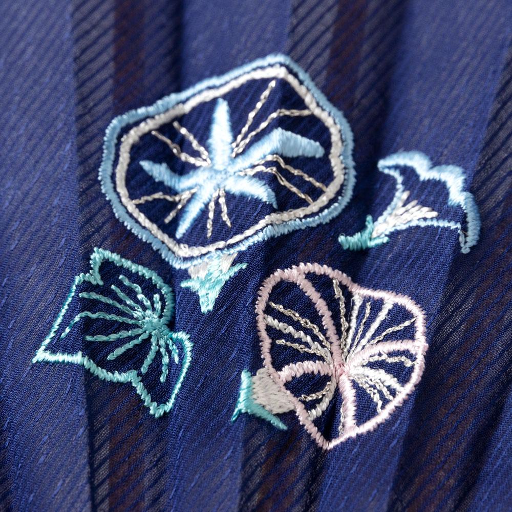 花刺繍扇子セット2020 朝顔 刺繍入り布貼り扇子 扇子袋付き 女性向け スーベニール Sensu fan