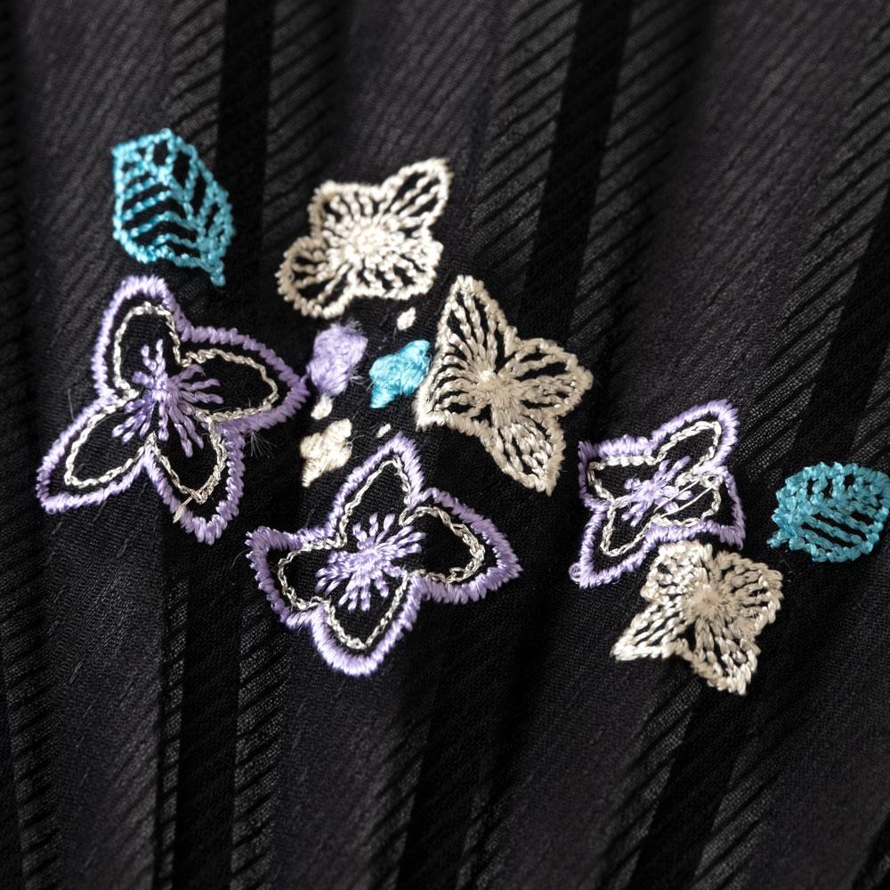 花刺繍扇子セット2020 紫陽花 刺繍入り布貼り扇子 扇子袋付き 女性向け スーベニール Sensu fan