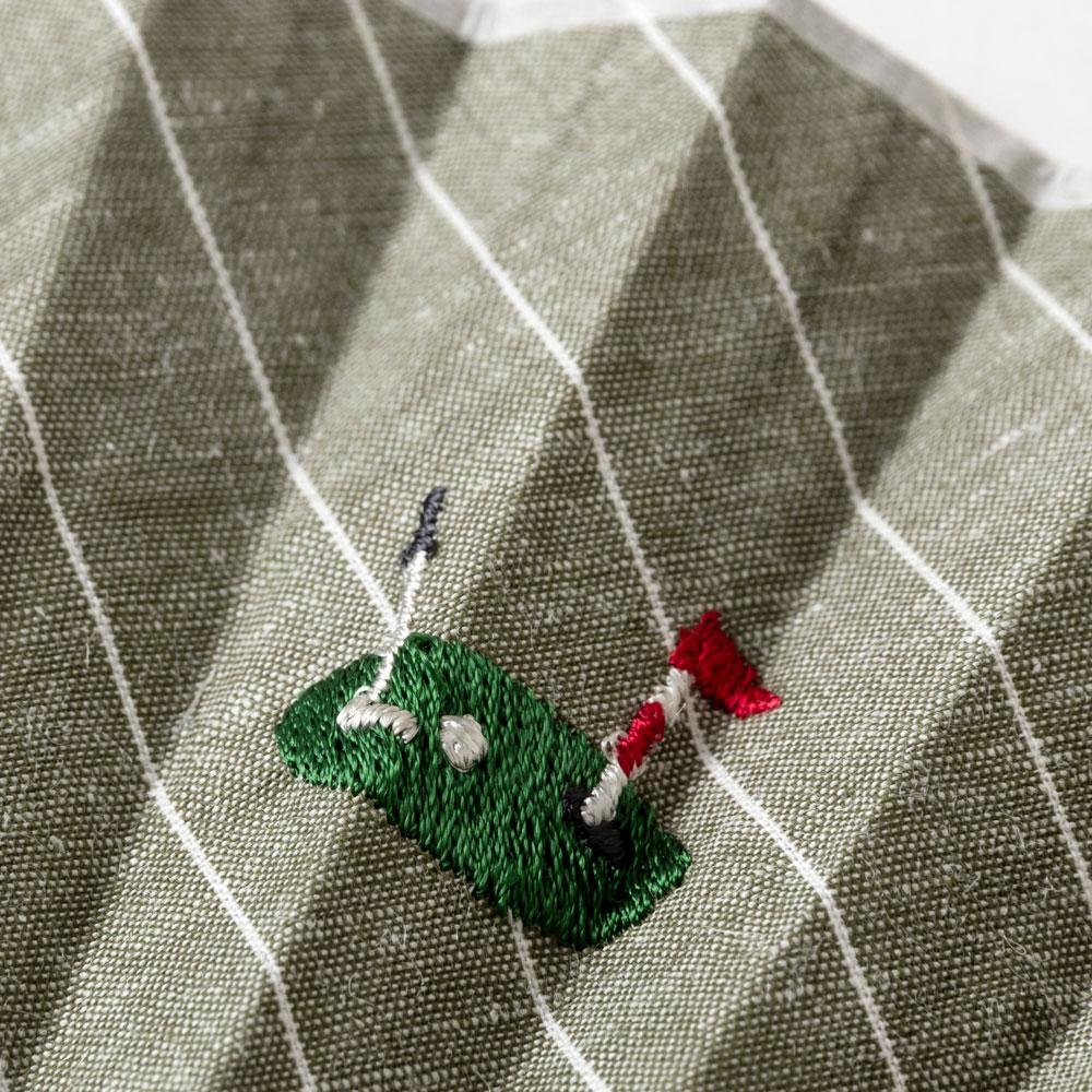 ホビー刺繍扇子セット2020 ゴルフ 刺繍入り布貼り扇子 扇子袋付き 男性向け スーベニール Sensu fan