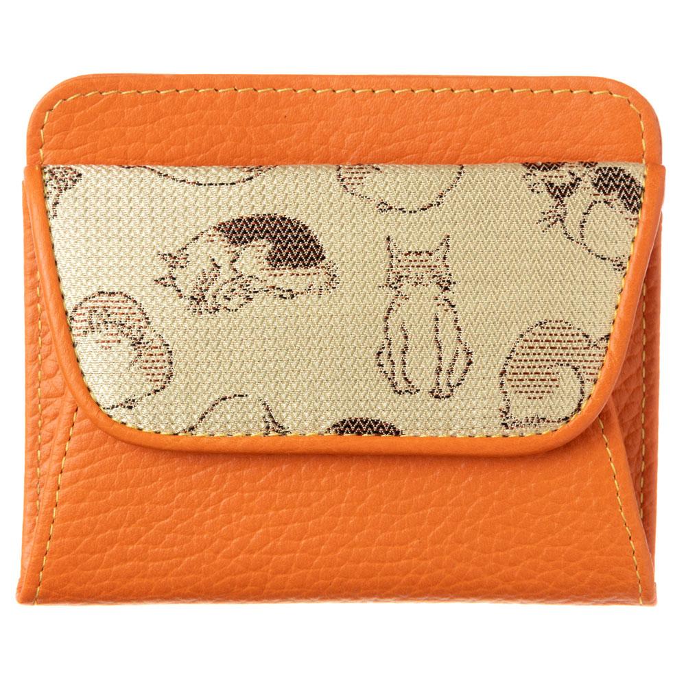 京都 あらいそ ねこ尽くしコインケース 淡黄×オレンジ 西陣織名物裂 Kyoto nishijin, Coin purse