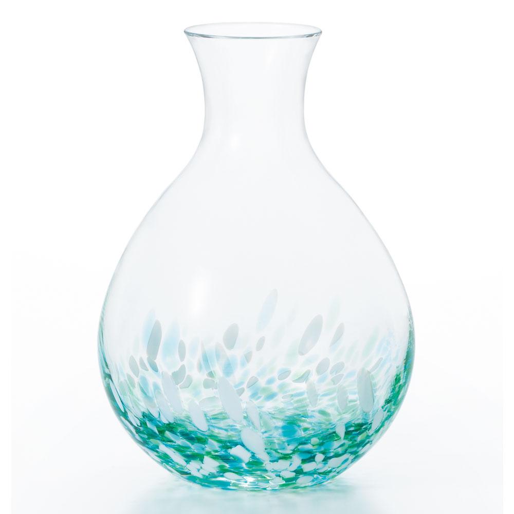 津軽びいどろ酒器セット みずばしょう 徳利と盃のセット ガラス酒器 青森県の工芸品 Sake bottle & cups, Aomori craft