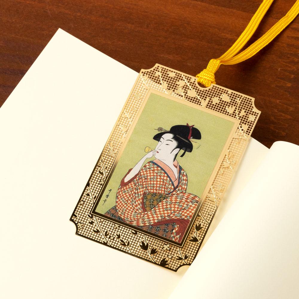 浮世絵しおり 歌麿・ビードロを吹く美女 (UK008) 金の栞シリーズ 24K表面加工 金属製ブックマーカー Metal bookmark, Ukiyo-e