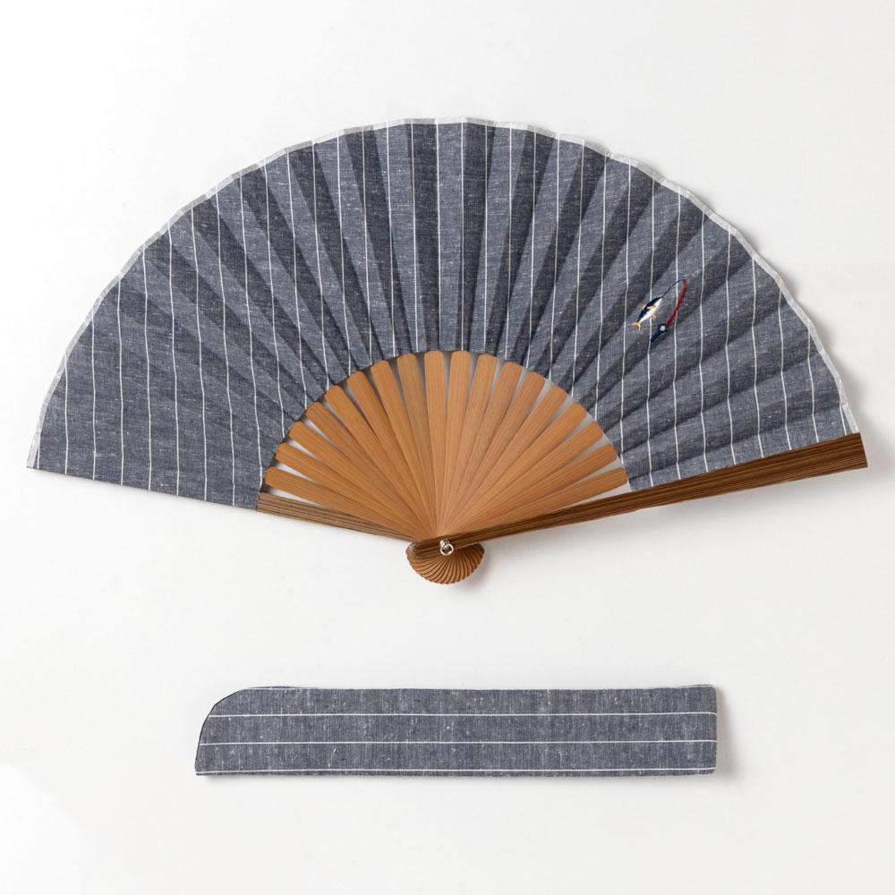 ホビー刺繍扇子セット2020 フィッシング 刺繍入り布貼り扇子 扇子袋付き 男性向け スーベニール Sensu fan