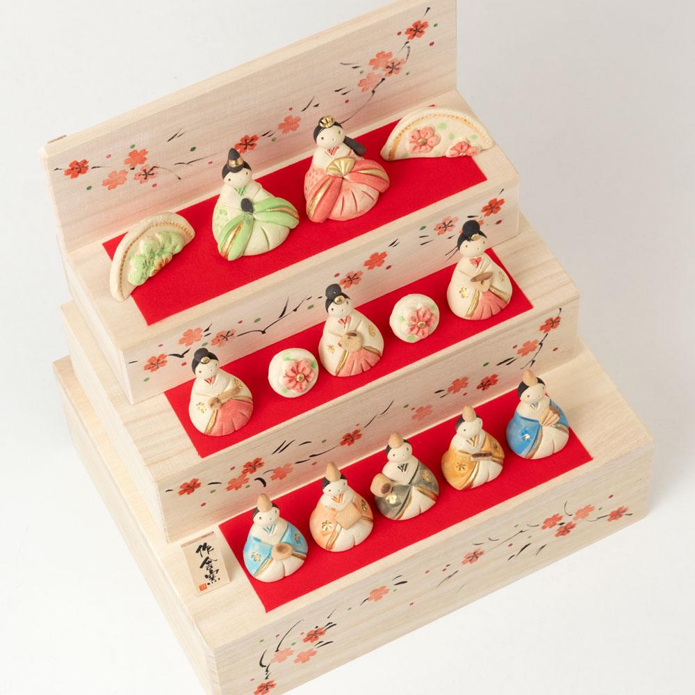 工房SAO 花木箱 段雛飾り・大 (HK840) 瀬戸焼のお雛さま 桃の節句 Setoyaki Hina dolls