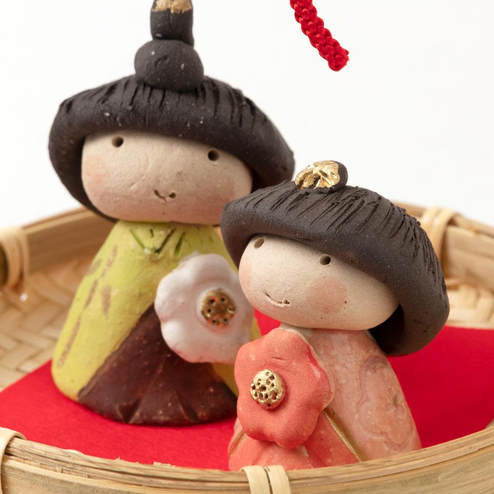 ひろ陶房 春桃籠雛飾り (HK834) 瀬戸焼のお雛さま 桃の節句 Setoyaki Hina dolls