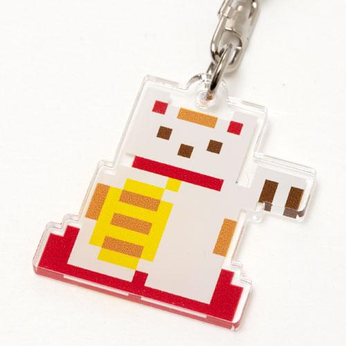 キーホルダー ドット絵 マネキネコ 和柄アクリルキーホルダー eeene! スーベニール Japanese style key fob made of acrylic