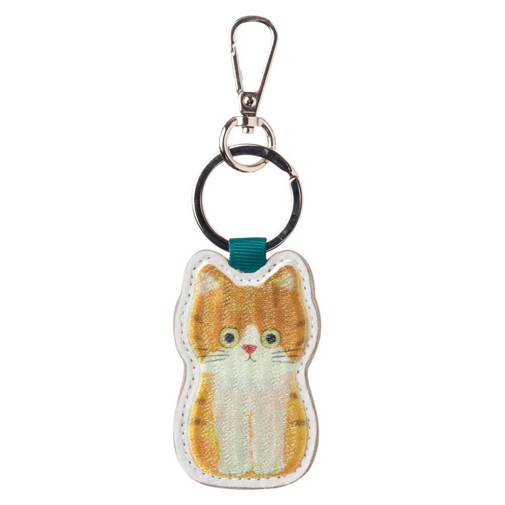 猫の刺繍チャーム ちゃしろ ECOUTE! minette キーホルダー まあるいおめめのキュートな猫たち
