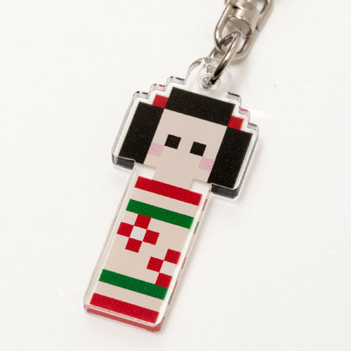 キーホルダー ドット絵 コケシ 和柄アクリルキーホルダー eeene! スーベニール Japanese style key fob made of acrylic