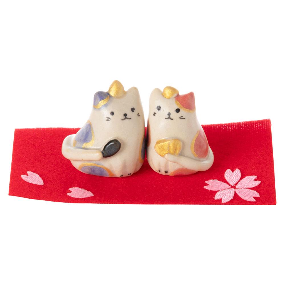 りゅうこ窯 豆猫雛飾り (HK847) 瀬戸焼のお雛さま 桃の節句 Setoyaki Hina dolls