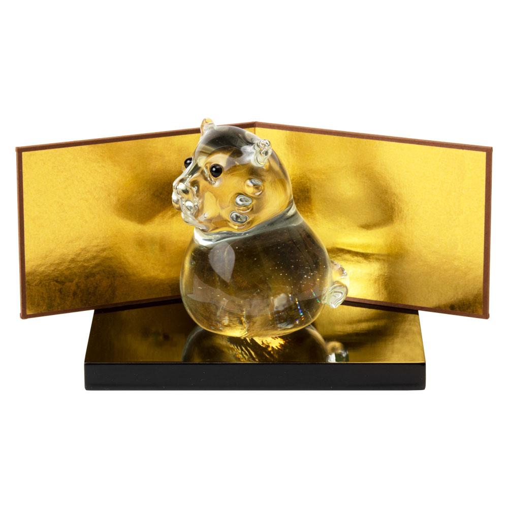 正月飾り ガラス干支置物 寅・透明 金屏風+飾り台セット ハンドメイド硝子飾り Japanese zodiac figurine made of glass
