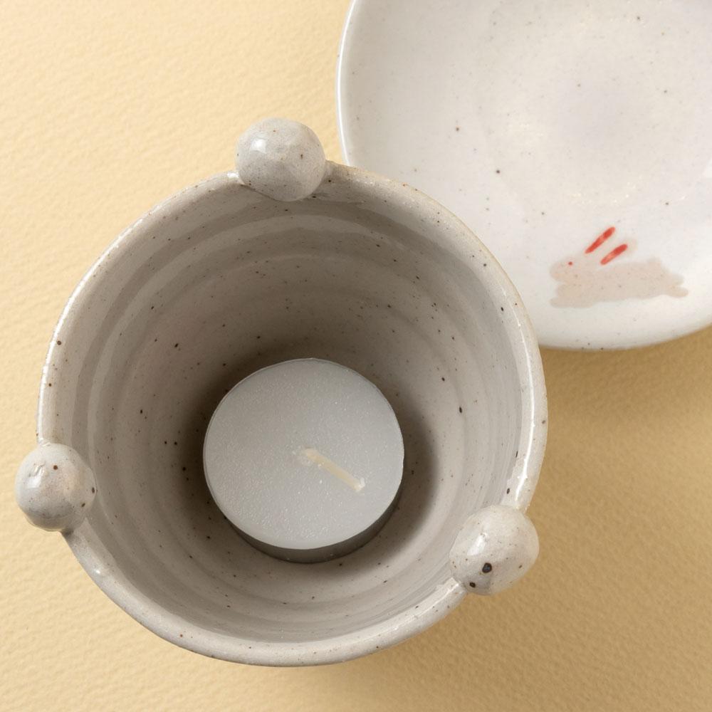 茶香炉+キャンドルセット うさぎ茶香炉 (K2507) + ティーライトキャンドル24個 茶葉の香りを楽しむアロマグッズ 瀬戸焼 愛知県の工芸品 Tea incense burner and candle set