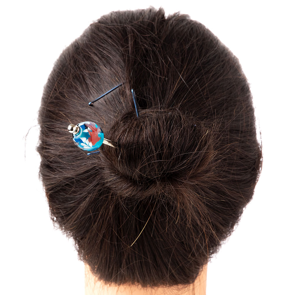 とんぼ玉かんざし 金魚・青 飽きのこないシンプルデザインの蜻蛉玉簪 Japanese hairpin, Hair stick