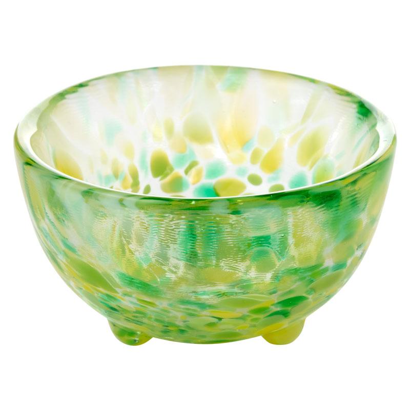 ガラス盃セット 木の芽+コースター茶 津軽びいどろの盃と福岡の和布コースター Sake glass and cloth coaster set