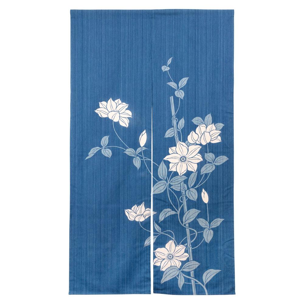 小島屋 藍染め暖簾(のれん)あさぎ 鉄線柄 武州正藍染 埼玉県の工芸品 Short split curtain made of indigo dye fabric, Saitama craft