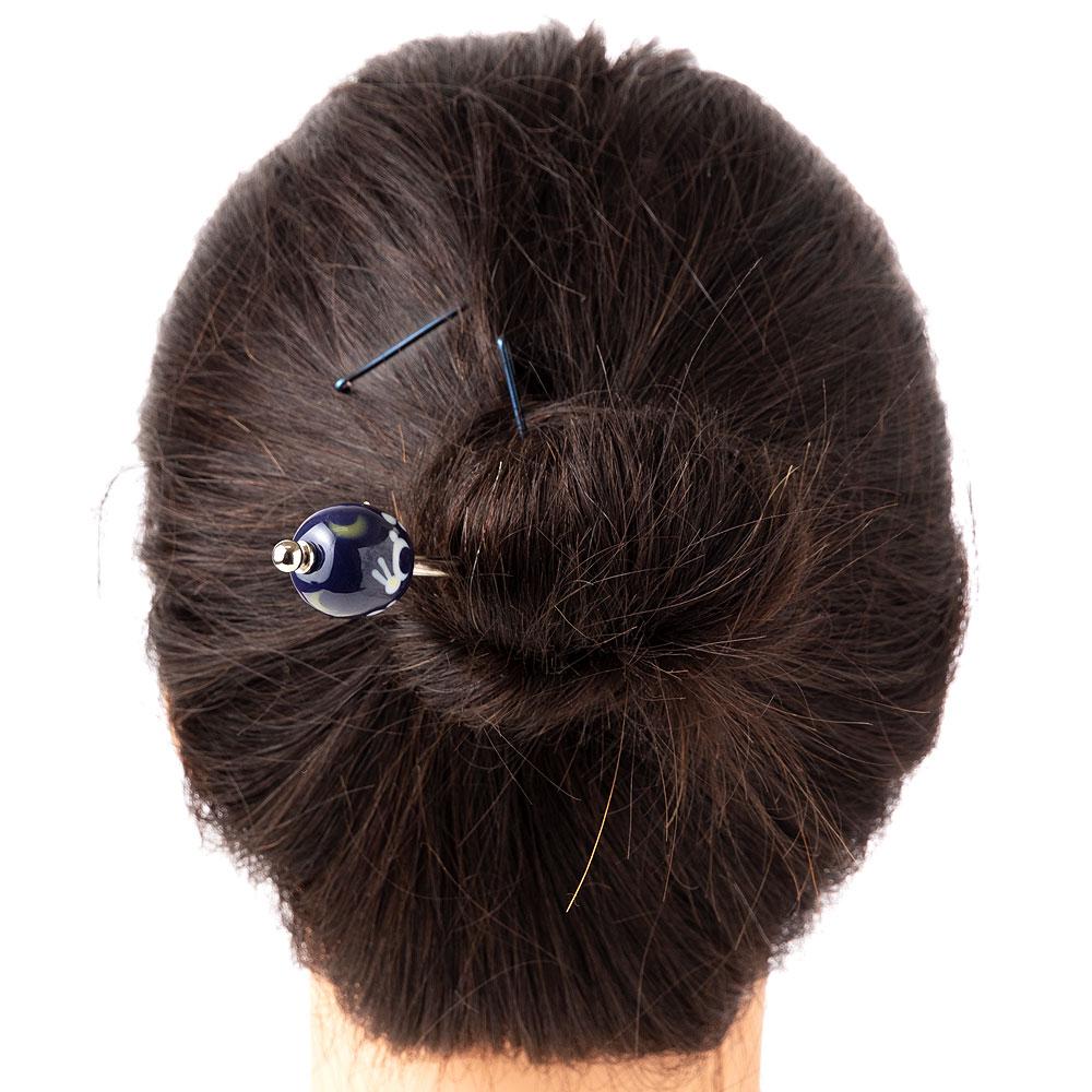 とんぼ玉かんざし うさぎ 飽きのこないシンプルデザインの蜻蛉玉簪 Japanese hairpin, Hair stick