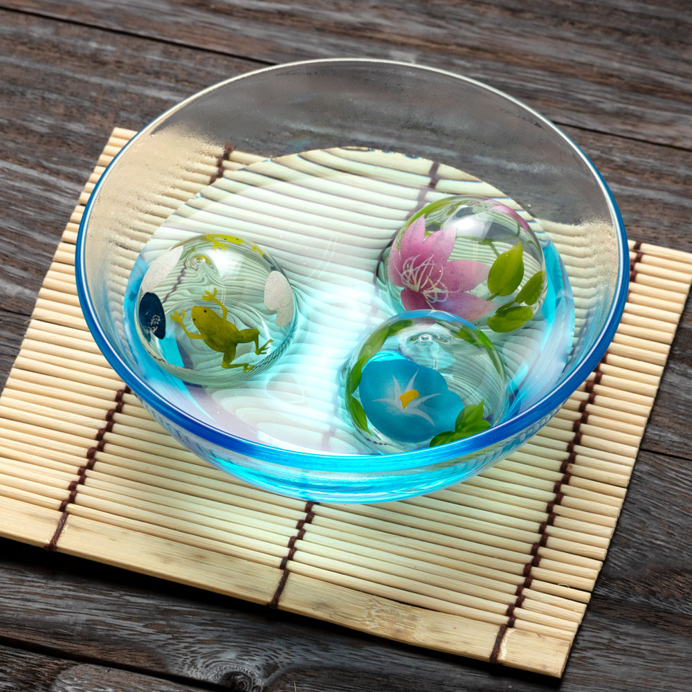 ビードロ浮き玉・小 ピンク鉄仙(T-011) 水に浮かべて涼を感じるインテリア 木之本 福島県の工芸品 Glass float, Fukushima craft