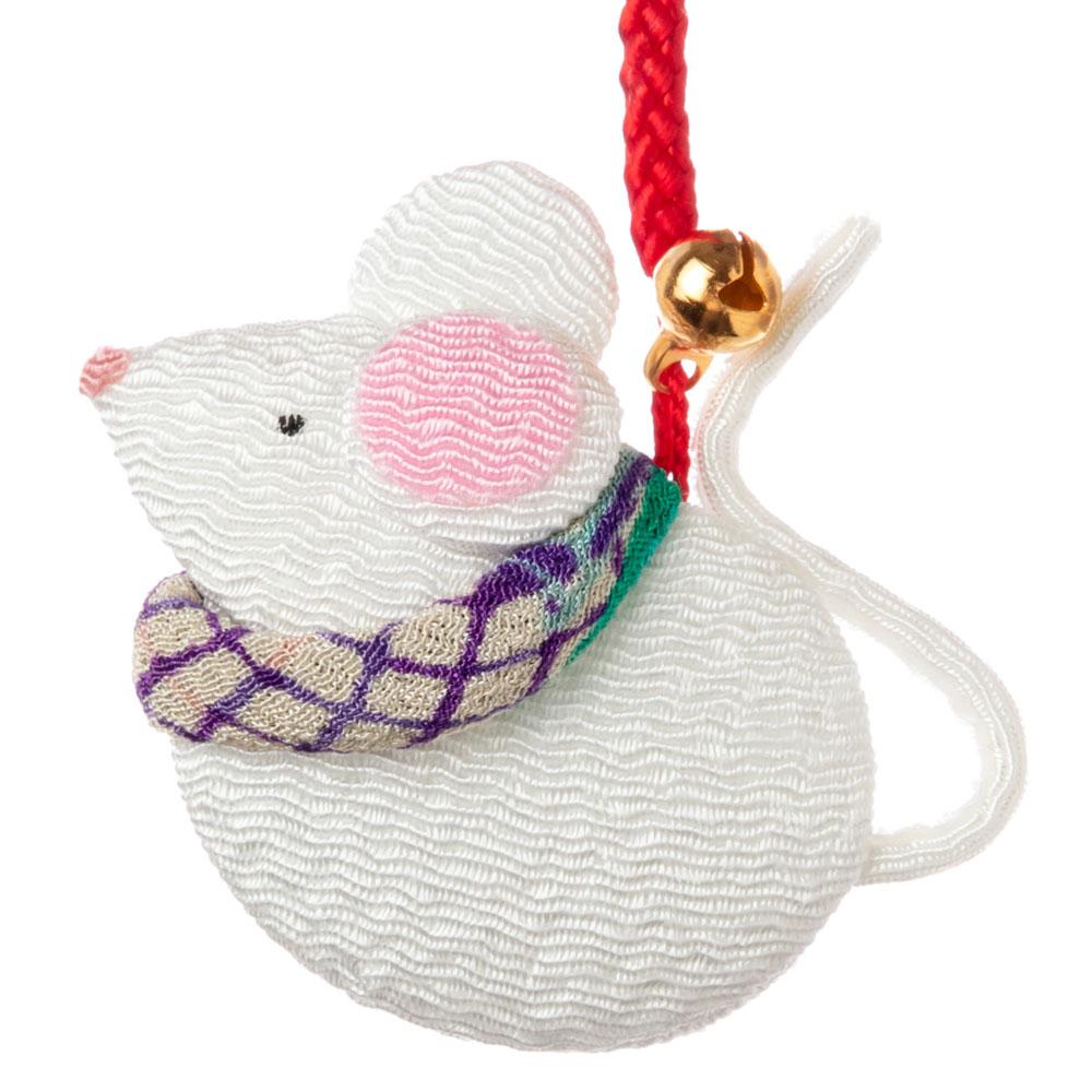 京都夢み屋 十二支根付 子 -ねずみ- (YE15-10) ちりめん細工の干支小物 Japanese zodiac accessory of crepe fabric