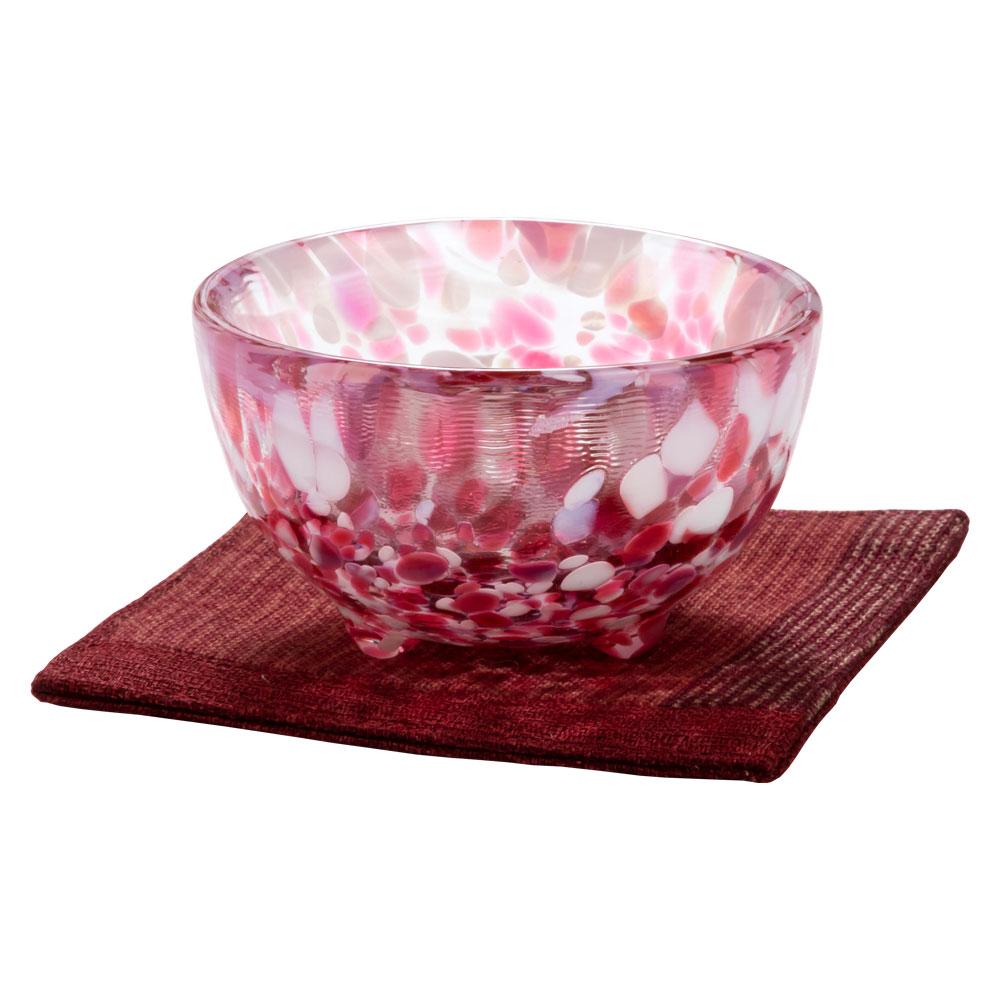 ガラス盃セット 春の宵+コースター赤 津軽びいどろの盃と福岡の和布コースター Sake glass and cloth coaster set