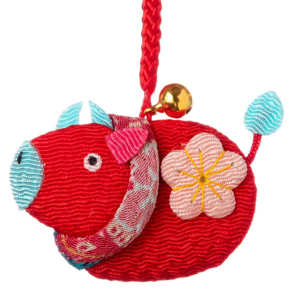 京都夢み屋 十二支根付 丑 -うし- (YE15-11) ちりめん細工の干支小物 Japanese zodiac accessory of crepe fabric