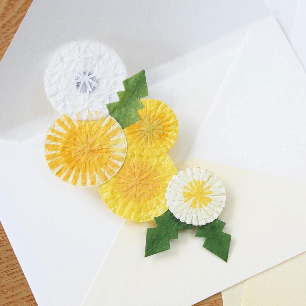 季節のオーナメント たんぽぽ 和紙の花 しおり・テーブルウェアにも めでたや Seasonal decoration, Japanese paper ornament