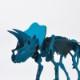 DINOSAUR恐竜骨格工作キット トリケラトプス・ブルー ダンボールでつくる恐竜骨格 のりもはさみも使わずに組み立てられるペーパークラフト Cardboard craft kit, Dinosaur