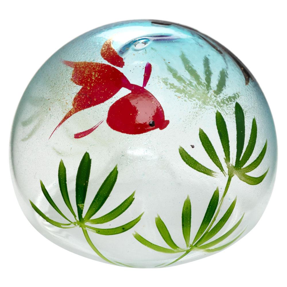 ビードロ浮き玉・小 水草金魚(マリンブルー)(T-019) 水に浮かべて涼を感じるインテリア 木之本 福島県の工芸品 Glass float, Fukushima craft