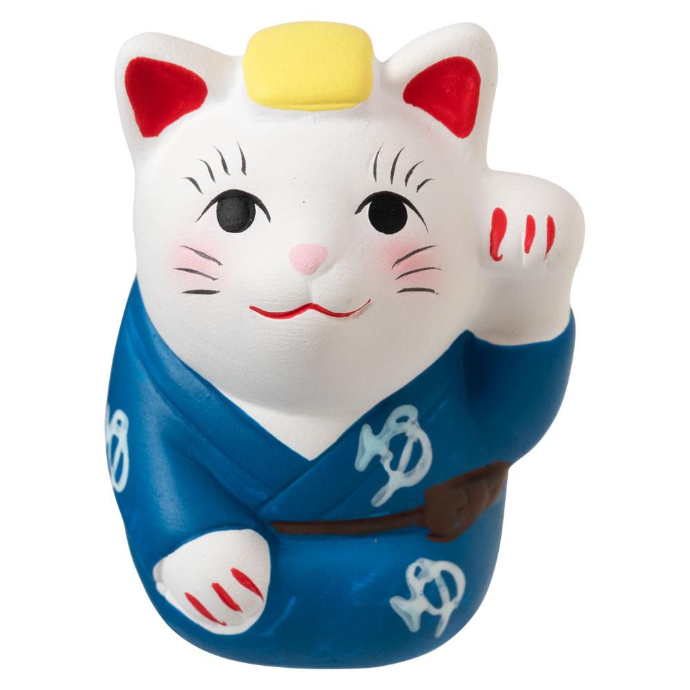 温泉招き猫おみくじ「ゆマーク」 ちょっとしたスペースに飾れる縁起物 Ceramic fortune, Lucky cat
