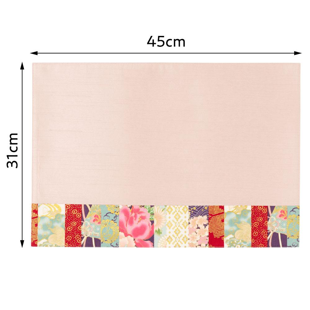 百道発信 華神楽 ランチョンマット ピンク (IKI-1479) 45×31cm 福岡県の布製品 Fabric place mat, Fukuoka craft